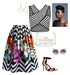 print on print by sandrine-sandy-ashimwe on Polyvore featuring Chicwish, Gianvito Rossi and Kenneth Jay Lane