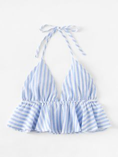 Striped Frill Hem Open Back Crop Halter Top -SheIn(Sheinside) Crop Top Outfits, Crop Top Shirts, Casual Outfits, Summer Outfits, Cute Outfits, Crop Tops, Diy Fashion, Ideias Fashion, Fashion Outfits