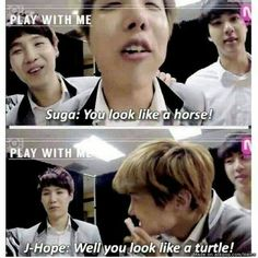 Hoseok horse Yoongi turtle