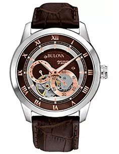 """Last minute Valentine's Day gift shopping for HIM! Bulova Self-Winding Watch Stainless Steel Bulova """"Automatic"""" Watch with Rose Gold Accents, Roman Numeral Hour Markers and Brown Leather Strap, Style # Automatic Skeleton Watch, Automatic Watches For Men, Bulova Mens Watches, Brown Leather Strap Watch, Skeleton Watches, Bracelet Cuir, Mechanical Watch, Cool Watches, Men's Watches"""