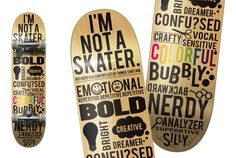 Fonts on a skateboard by Amanda Fusinatto #fonts #typography