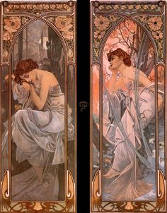 (Czech) Evening reverie, Nocturnal slumber, 1898 by Alphonse Mucha Art nouveau. Art Nouveau Mucha, Alphonse Mucha Art, Art Nouveau Poster, Art And Illustration, Art Illustrations, Design Art Nouveau, Art Design, Arte Art Deco, Art Amour