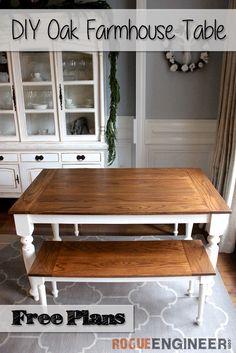 DIY Solid Oak Farmhouse Table | Free & Easy Plans | Rogue Engineer