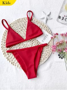 AD : Girls Kids String Bikini Set - RED   Cute girls' bathing suit featuring adjustable shoulder straps triangle-shaped bikini top and v-string brazilian cut swim bottoms, non-padded.  Swimwear Type: Bikini   Bikini Type: String Bikini   Gender: For Girl   Material: Nylon,Polyester,Spandex   Collar-line: Spaghetti Straps   Pattern Type: Solid   Elasticity: Elastic   Weight: 0.1700kg   Package: 1 x Top 1 x Bottoms