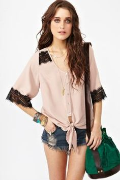 Laced Tie Top - Taupe in  Sale Tops at Nasty Gal