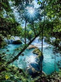 Amazing Waterfalls Around The World -2 - Chiapas, Mexico turquoise waterfall