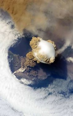 A volcanic eruption as seen from space