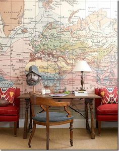 Sachs blew up a vintage map and wallpapered one wall in the boys' room.