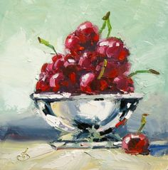ONE DOLLAR AUCTION, 6x6 inch BOWL OF CHERRIES by TOM BROWN, painting by artist Tom Brown