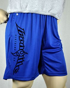 f66ec7b3728 Ironville Bodybuilding Gym Shorts - Royal Blue - Vertical Logo Weightlifting  Gym