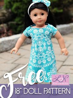 Sew up a FREE swing dress for 18� dolls to coordinate with the girls Li'l LDT Dress. It�s a super quick downloadable pattern that�s perfect for beginners. #lovenotions #dollclothessewing #easytosew #freedollclothes