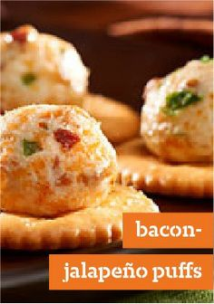 Bacon-Jalapeno Puffs Recipe .. very easy, only 6 ingredients, not including crackers.. then baked for 5 minutes.