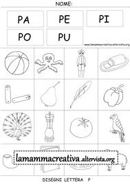 Disegni parole con lettera P Helping Children, Activities For Kids, School, Mamma, First Year, Phonological Awareness, Speech Language Therapy, Activities, November