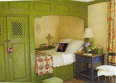 πράσινο-κρεβάτι-γωνιά-ορτανσία-λόφος-εξοχικό σπίτι