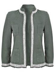 From 120% Lino - Silver Trim Jacket - Grey