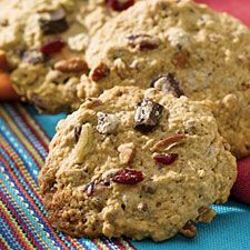 "This hearty ""trail mix"" flavored snack cookie is redolent of cinnamon. Use Cinnamon Flav-R-Bites® if you like firm crunch in your cookies, the softer chips if you prefer chew. Trail Mix Cookies, Brownie Cookies, Cake Cookies, Flour Recipes, Cookie Recipes, Whole Grain Flour, King Arthur Flour, Grain Foods, Cookie Pie"