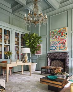 Saturday Inspo: A room filled with style, grace and creativity by Jan Showers. . . . . . . . . . . #pursuepretty #createyourhappy… Veranda Magazine, Neutral Walls, Gray Walls, Creation Deco, Top Interior Designers, Step Inside, Behr, Home Staging, Color Trends