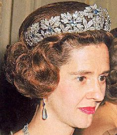Queen Fabiola's Spanish Wedding Gift Tiara - versatile piece that can be worn with different interchangeable gems as well ~ aquamarines, emeralds, and rubies