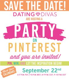 Save the date for our Fall Party on Pinterest!!  Come party with The Dating Divas- get lots of fun, fall ideas, giveaways, contests, and FREE Party Favors for EVERYONE!