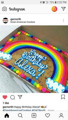 Quadratischer Kekskuchen - Averie's Birthday! Rainbow Cookie Cake, Giant Cookie Cake, Cookie Cake Birthday, Big Cookie, Birthday Cake Decorating, Cake Decorating Tips, Cookie Decorating, 4th Birthday, Birthday Ideas