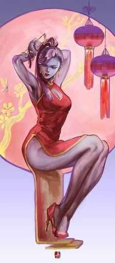 Happy Chinese new year! Widowmaker is sooooooo beautiful in her new year icon. Overwatch Widowmaker, Overwatch Comic, Overwatch Fan Art, Anime Fantasy, Fantasy Girl, Comic Art Girls, Fanart, Character Illustration, Video Games Girls