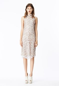 LOOK 19 Ice pink mosaic sequin shift dress layered over gray cross print crinkle chiffon cowl neck bias sheath.