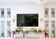 Tips on How to Dress your Mantel for Thanksgiving with fresh white heirloom pumpkins pink roses amaranths and faux silver sage