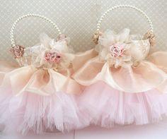 Lace Flower Girl Basket Wedding Basket Bridal Basket in Champagne, Ivory and Blush Pink Vintage Inspired