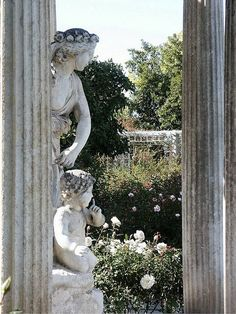 Rose garden temple statue, Huntington Library, Pasadena,Ca.