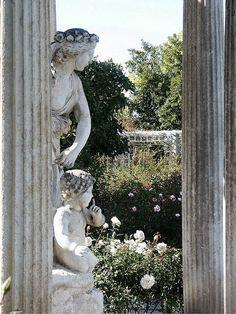 Rose garden temple statue, Huntington Library