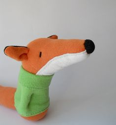 plush fox doll, sock animal, plush animal, sock doll, plushie, orange, soft sculpture, Finley