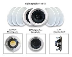 """Acoustic Audio HTI6c-8PKG (8) 250 Watt 6.5"""" In-Wall/Ceiling Speakers by Acoustic. $159.99. An easy and attractive addition to any sound system, these two-way round speakers will go great with your surround sound home theater, the stereo system you use to entertain guests in your living room, or as a part of your multi-room audio system. They mount flush in a wall or ceiling for nearly invisible installation, and have paintable white grills that can be modified to match indi... Home Theater Furniture, Home Theater Setup, Best Home Theater, Home Theater Speakers, Home Theater Projectors, Home Theater Design, Home Theater Seating, Theatre, Multi Room Audio System"""