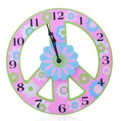 YCC Anti-War Lovely Pink Wood Wall Clock Color Pink