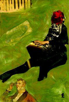 """48-Toulouse Lautrec x Cris Acqua.  Pintura Mixta Collage. 30x21 cm.HOMENAJE :""""Mi amor por este genial pintor...dueño de los trazos más libres y geniales de la Belle epoque, me han influido totalmente en mi camino por el arte..."""" (Cris Acqua)  http://www.crisacqua.com"""