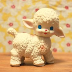 I had one of these rubber doll lambs. Saw a lot of these, especially around the Easter holiday. You could sometimes find them with lollipops tied on with ribbon. Vintage Baby Toys, Vintage Dolls, My Childhood Memories, Sweet Memories, Nostalgia, Rubber Doll, Retro Toys, Old Toys, Vintage Love