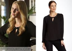 Rebekah Mikaelson (Claire Holt) wears this studded keyhole blouse in this upcoming episode of The Originals. It is the Bellatrix Long Sleeve Stud Embellished Blouse. Buy it HERE for $39.97