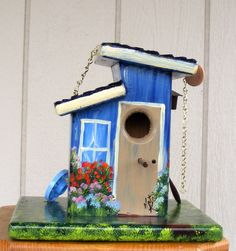 Blue Bird House, Handcrafted. $59.00, via Etsy.