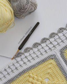 Bobble Crochet, Manta Crochet, Crochet Motif, Crochet Yarn, Crochet Stitches, Crochet Granny, Crochet Blanket Border, Baby Girl Crochet Blanket, Crochet Squares Afghan