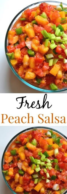 Fresh Peach Salsa- the easiest, healthiest and freshest peach salsa you will ever have! www.nutritionistreviews.com