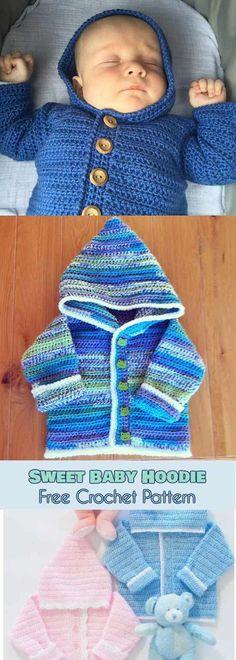 Baby Knitting Patterns Hoodie Sweet Baby Hoodie [Free Crochet Pattern] This hoodie looks adorable and is very … Cardigan Au Crochet, Crochet Baby Jacket, Crochet Baby Sweaters, Crochet Hoodie, Knitting Sweaters, Crochet Baby Clothes Boy, Crochet Baby Cardigan Free Pattern, Cardigan Sweaters, Booties Crochet