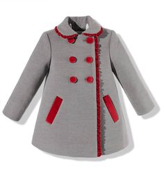 Abrigo para niña en paño gris combinado con terciopelo rojo