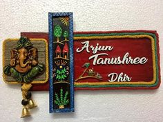 Village theme nameplate Creative Names, Creative Artwork, Clay Wall Art, Clay Art, Crafts To Do, Clay Crafts, Wooden Name Plates, Name Plate Design, Name Plates For Home