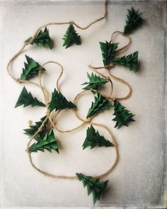 Evergreen Christmas Tree Origami Garland by EnduringVision on Etsy christmas garland Christmas Garland Rustic Evergreen Christmas Tree Decoration Noel Christmas, Rustic Christmas, Winter Christmas, Christmas Ornaments, Origami Christmas Tree, Green Christmas, Diy Christmas Tree Garland, Etsy Christmas, Christmas Ideas