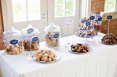 wedding dessert bar and buffet ideas- love the glass jar for the  wedding cookies