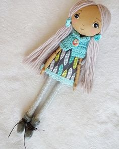 Handmade dollcloth doll pixie doll rag doll fabric doll