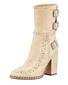 X1Y74 Laurence Dacade Baulence Studded Triple-Buckle Boot, Beige