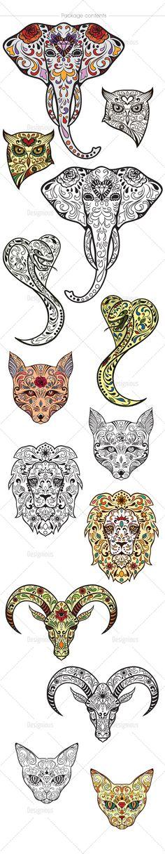 Animal Sugar skull tattoos