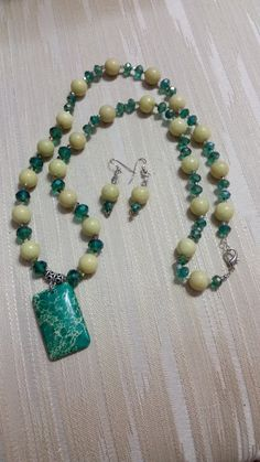 Magnesite Pendant w/ Olive Jade & Crystals Set by JewelsbyLil