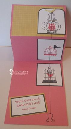 August birdcage card open - fun fold!!