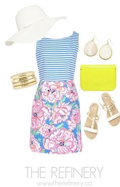 An outfit idea in memory of Lilly Pulitzer from THE REFINERY in Toronto Ontario.